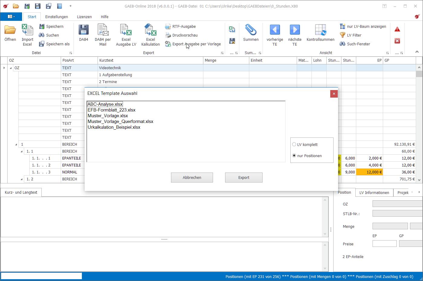 Gaeb Ausschreibungen Arbeiten Mit Eigenen Excel Vorlagen