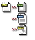 GAEB, GAEB XML, D84, GAEB 2000, GAEB 90, Excel, Exel, D84, RTF, Angebote, LV, Word, Leistungsverzeichnis, Leistungsverzeichnisse, LVs, Ausschreibung, Vergabe, Abrechnung, Angebotsverfahren